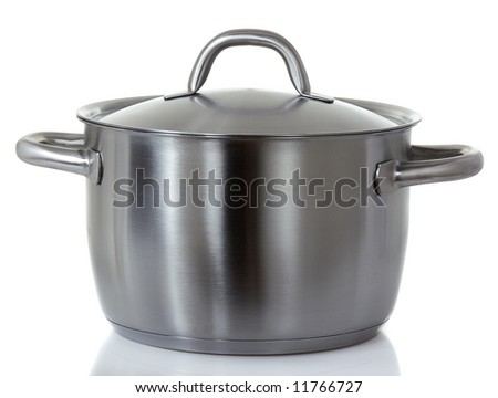 stainless pan isolated on white - stock photo