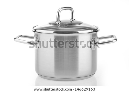 stainless pan isolated on white background - stock photo