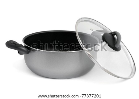 Stainless pan on a white background - stock photo