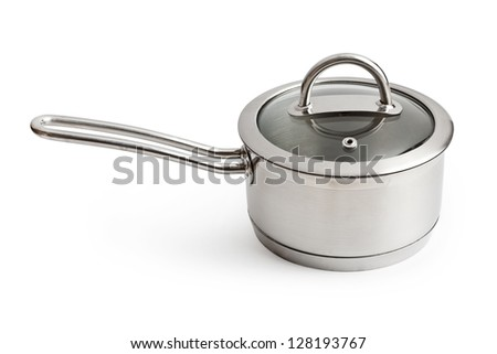 Stainless pan with a glass cover, on a white background - stock photo