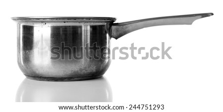 Stainless saucepan isolated on white - stock photo