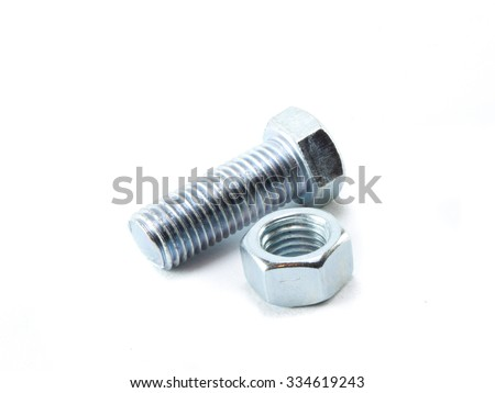 Stainless steel bolt and nut isolated on white - stock photo
