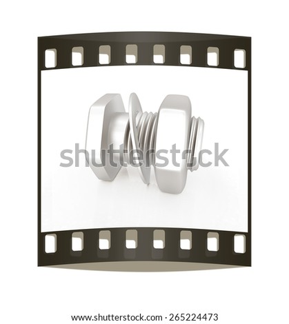 stainless steel bolts with a nuts and washers on black. The film strip - stock photo