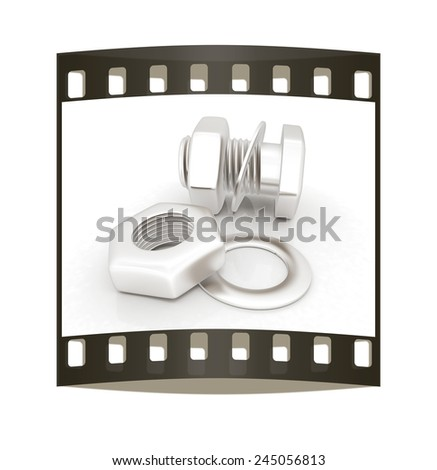 stainless steel bolts with a nuts and washers on white. The film strip - stock photo