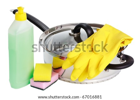 Stainless steel cooking deep stewing pan with glass lid, rubber gloves, vial of cleaning fluid and sponges isolated on white - stock photo