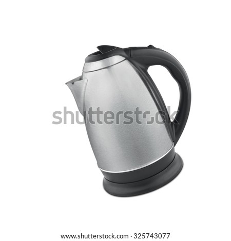 Stainless steel electric kettle isolated - stock photo