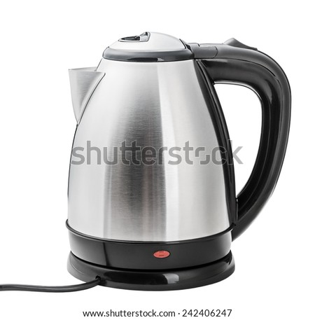 Stainless Steel Electric Kettle on the white background - stock photo