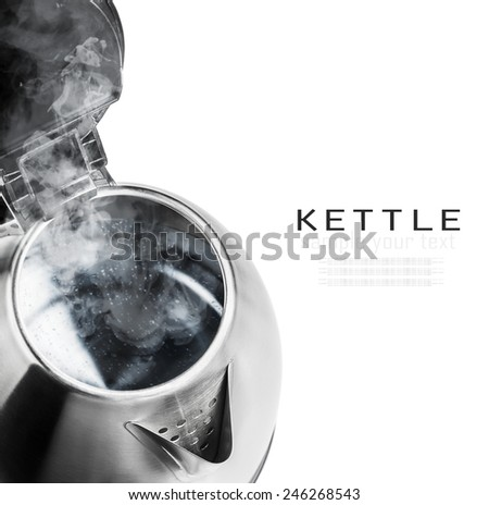 Stainless Steel Electric Kettle on the white background. The text is an example of writing and can be easily removed. focus on the spout - stock photo