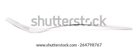 Stainless steel glossy kitchen metal fork isolated over the white background, side view foreshotening - stock photo