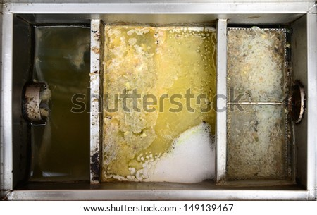 Stainless steel grease traps box - stock photo