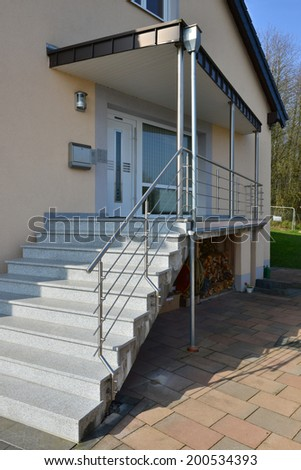 stainless steel handrail - stock photo