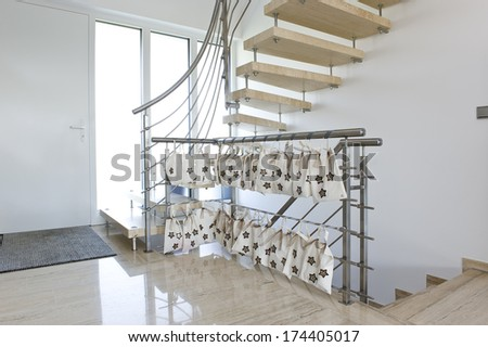 stainless steel handrail with Advent calendar - stock photo