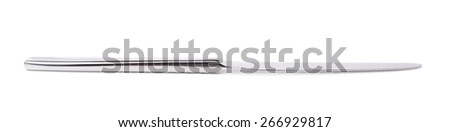 Stainless steel kitchen glossy metal knife isolated over the white background, side view foreshortening - stock photo