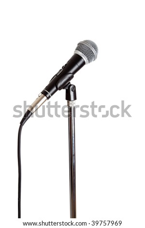 Stainless steel Microphone on a stand on a white background - stock photo
