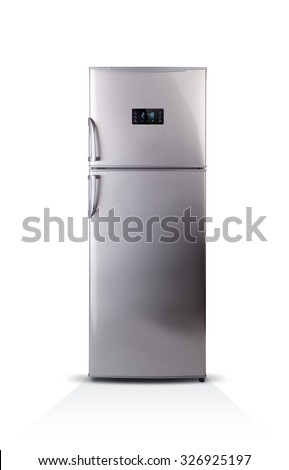 Stainless steel modern refrigerator isolated on white. The external LED display, with blue glow. Fridge freezer. - stock photo