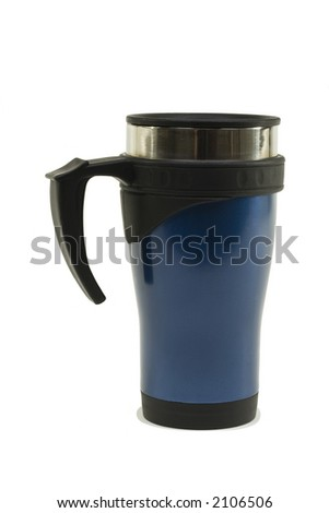 Stainless steel mug painted blue; on white background with light shadow - stock photo