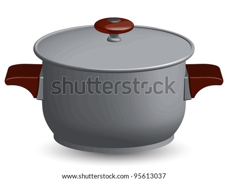 stainless steel pan against white background, abstract art illustration - stock photo