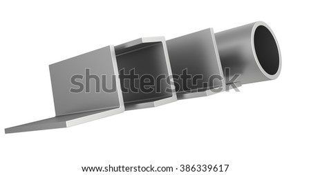 stainless steel pipes and profiles on a white background - stock photo