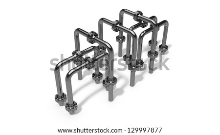Stainless steel piping system - stock photo