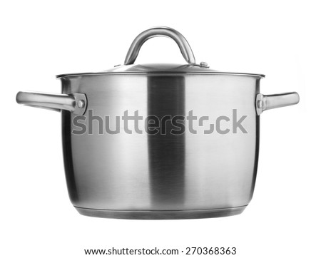 Stainless Steel pot isolated on a white background - stock photo