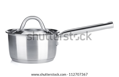 Stainless steel pot. Isolated on white background - stock photo