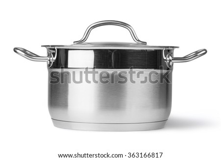 Stainless steel pot. Isolated on white background with clipping path - stock photo