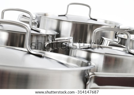 stainless steel pots - stock photo