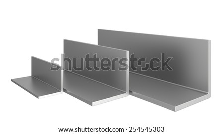 stainless steel profiles on a white background. 3d illustration. - stock photo