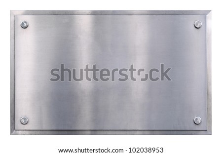 Stainless steel shiny gray metal sign with rivets texture background isolated on white - stock photo