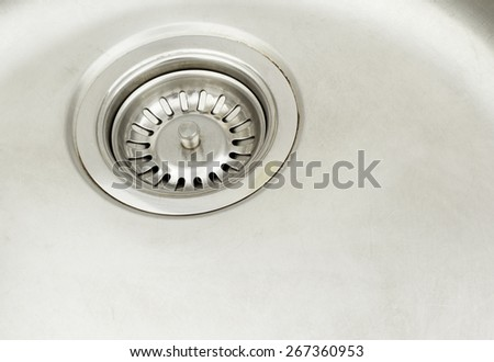 Stainless steel sink - stock photo