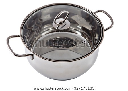 Stainless steel stewpan with clear glass lid, isolated on white. - stock photo