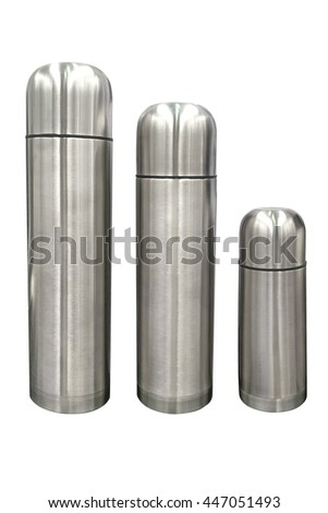 stainless steel thermos isolated on white background - stock photo