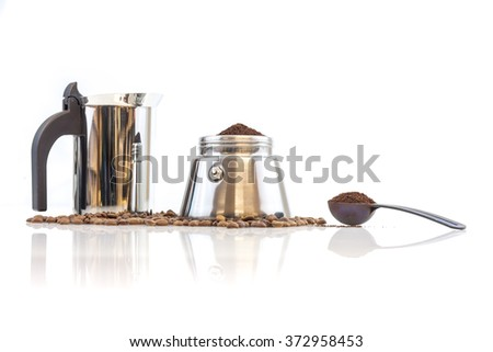 Stainless steel traditional percolater with black handle. Isolated on white background. - stock photo
