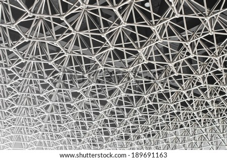 Stainless steel truss roof of the gymnasium. - stock photo