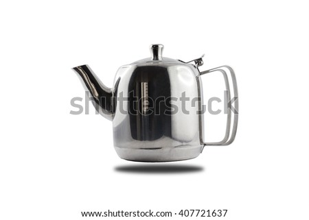 Stainless teapot with double handle floating on white background - stock photo