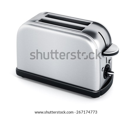 Stainless toaster isolated on white background - stock photo