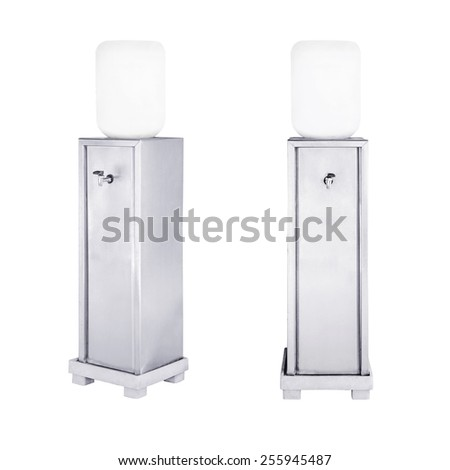 Stainless water cooler with water bottle isolated on a white background.  - stock photo