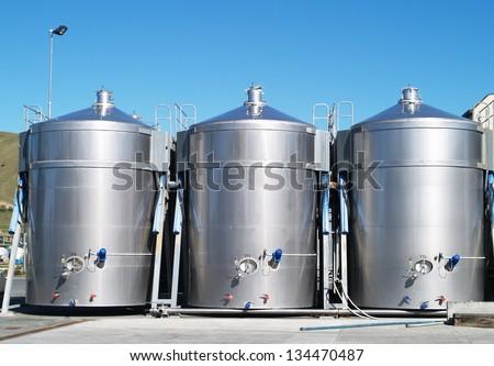 Stainless wine tanks, New Zealand - stock photo