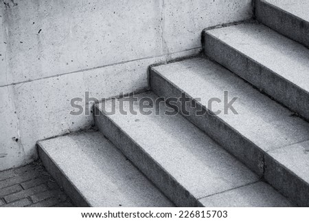 stair concrete staircase at the entrance to the building - stock photo