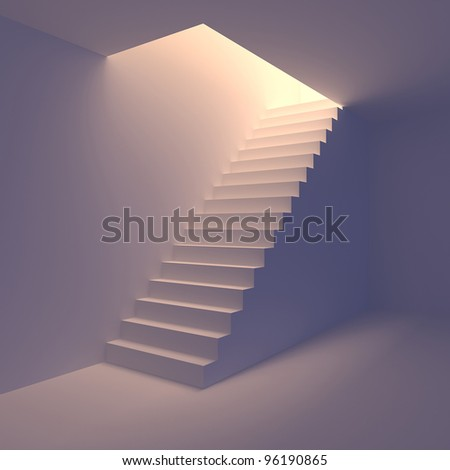 Stair from basement upstairs to light. Conception of success or religion. 3d render - stock photo