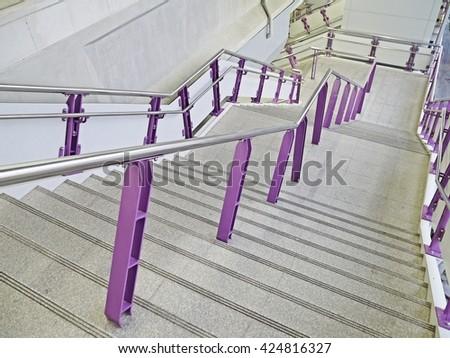 Stair in Bangkok Sky train station. (go down) - stock photo