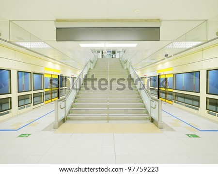 Stair in subway station - stock photo