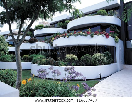 Stair like balconies at a resident building - stock photo