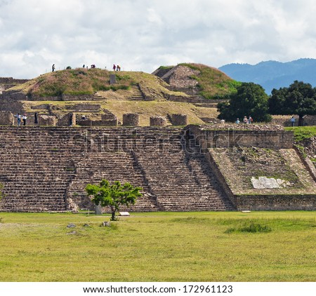 Staircase and the ruins of the ancient Zapotec city Monte Alban - Oaxaca, Mexico. - stock photo