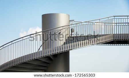 staircase at a lookout tower - stock photo