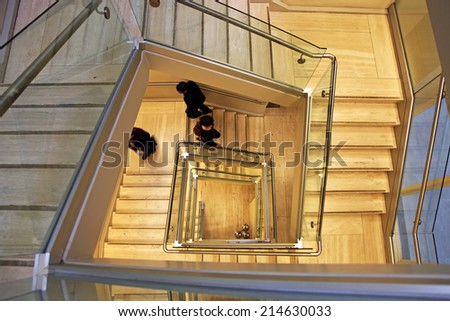 Staircase in an office building - stock photo
