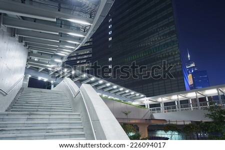 Staircase in city at night - stock photo