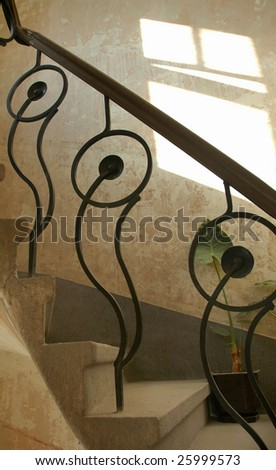 Staircase in old building - stock photo