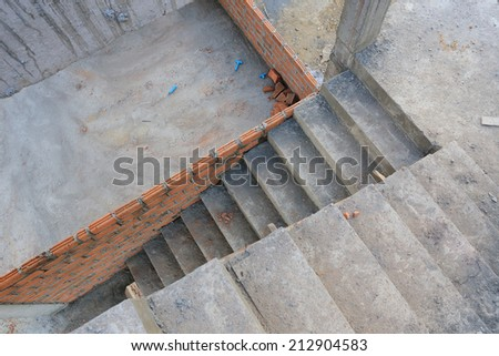 staircase in residential building construction site - stock photo