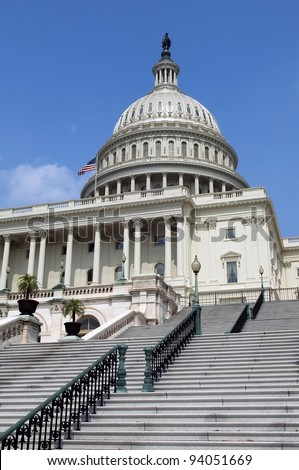 staircase leading to the Capitol Hill Washington, DC, USA - stock photo